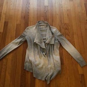 Small LOFT Gray/White Speckled Open Cardigan